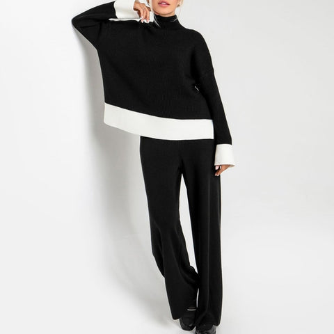 Baggy Black High Neck Long Sleeve Sweater Lounge Set-Black-S-