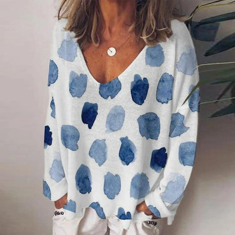 Baggy Long-Sleeved Print Top-Light Blue-S-