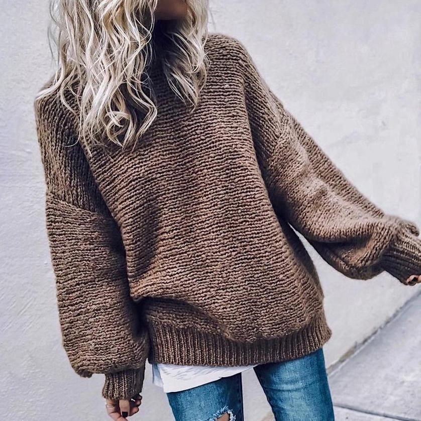 Baggy Round Neck Long Sleeve Sweater-Coffee-S-