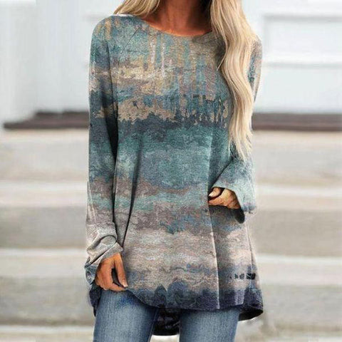 Baggy Round Neck Print Long Sleeve Top-Blue-S-