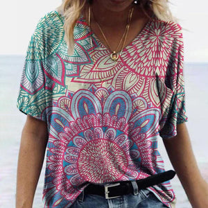 Baggy Short-Sleeved Print Top-Multicolor-S-