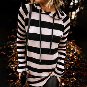 Basic Black And White Striped Long Sleeve Hoodie-Black and White-S-