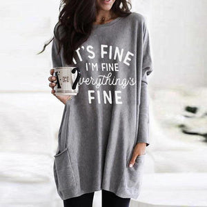 Basic Letter Printed Long Sleeve Tee-Grey-S-