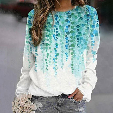 Basic Long Sleeve Printed Sweatshirt-White-S-