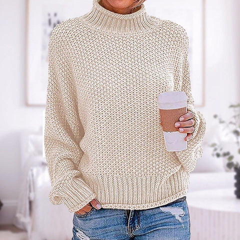 Basic Plain Long Sleeve Sweater-Apricot-S-