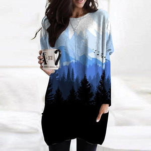 Basic Round Neck Long Sleeve Landscape Printed Top-Black-S-