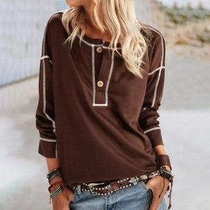 Basic Round Neck Long Sleeve Top-Coffee-S-