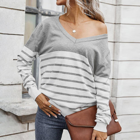 Basic V-Neck Long Sleeve Striped Sweatshirt-White-S-