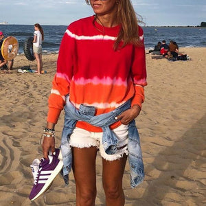 Beach Escape Tie Dye Sweatshirt-Red-S-
