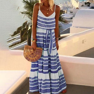 Beach Printed Spaghetti-Neck Maxi Dress-BLUE-S-