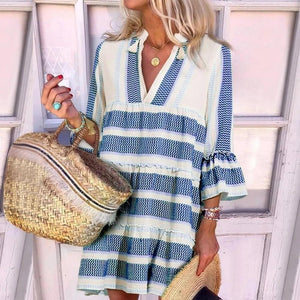 Beach Time Loose Casual Dress-BLUE-S-