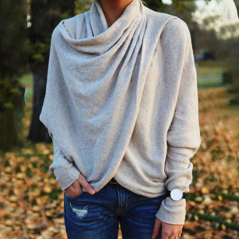 Beat the Chills Wrap Top-Grey-S-