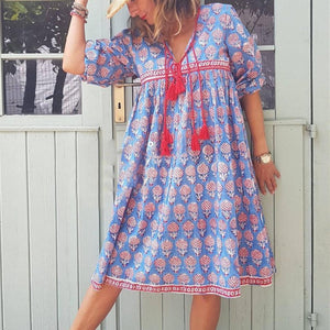 Berry Special Blue Printed Dress-Blue-S-