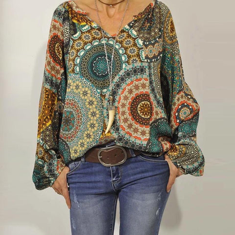 Best Days of Your Life Printed Blouse-Multicolor-S-