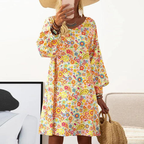 Best of the Decade Printed Dress-Yellow-S-
