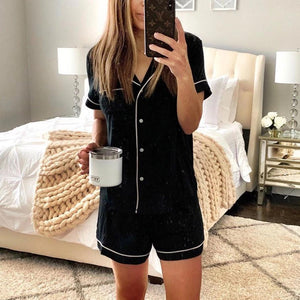 Black Short Sleeve Top And Shorts Pajama Set-BLACK-S-