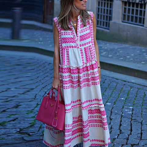 Blowing in the Wind Maxi Dress-Pink-S-