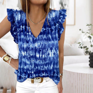 Blue Tie-Dye Cap Sleeve Top-Blue-S-