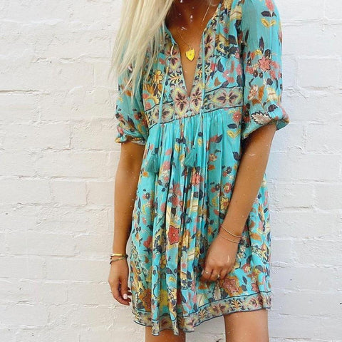 Boho Print 3/4 Sleeve Tassel Mini Dress-Blue-S-