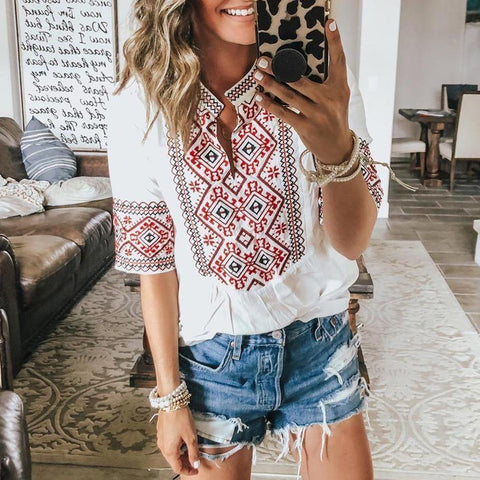 Boho Print Half Sleeve Top-White-S-