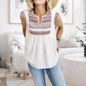 Boho Printed Notched Collar Sleeveless Casual Pleated Top-White-S-