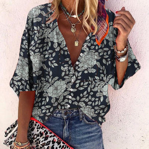 Bouquet Envy Navy Floral Print Top-Navy-S-
