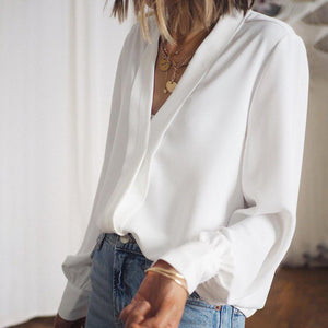 Breezy White V-Neck Long Sleeve Blouse-White-S-