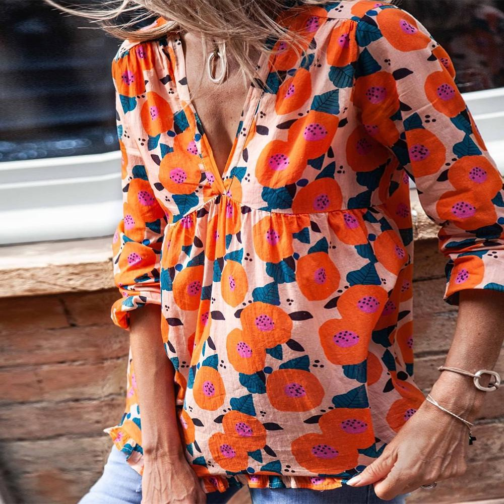 Bright About Now Floral Print Top-Orange-S-