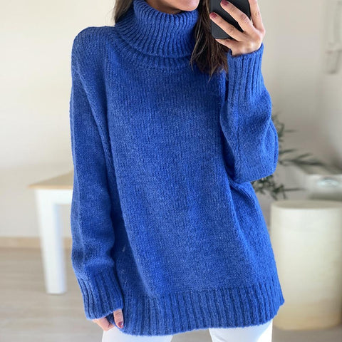 Bright Blue Ribbed Edge Long Sleeve Sweater-Blue-S-