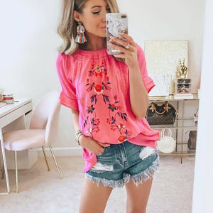 Bright Pink Embroidered Short Sleeve Top-Pink-S-