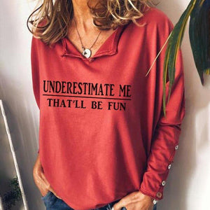 Bright Red V-Neck Letter Printed Long Sleeve Tee-Red-S-
