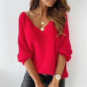 Bright V-Neck Plain Long Sleeve Sweater-Red-S-