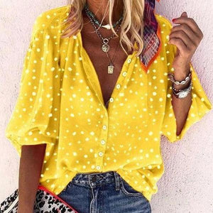 Bright Yellow V-Neck 3/4 Sleeve Printed Loose Blouse-Yellow-S-