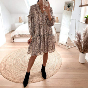 Brown Polka Dots Long Sleeve Tiered Mini Dress-Brown-S-