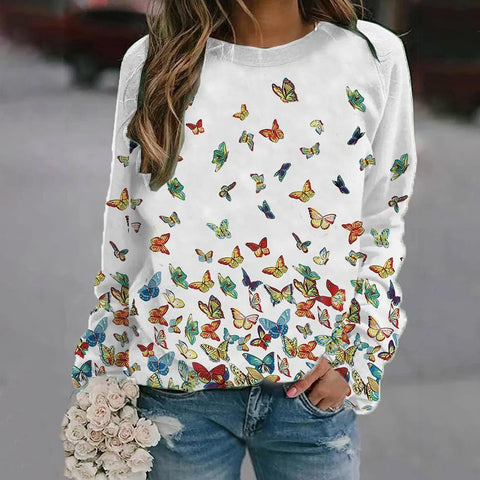 Butterflies-Printed Long-Sleeved Top-White-S-