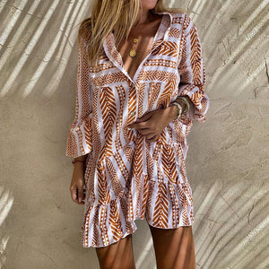 Button Detail Long Sleeve Print Mini Dress-Sandy Brown-S-
