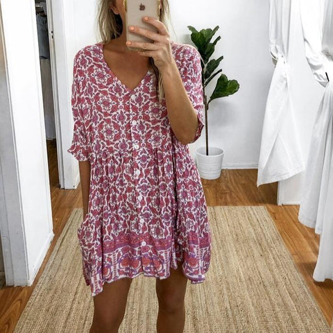 Button Half Sleeve Floral Print Mini Dress-Fuchsia-S-