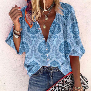 Button-Up 3/4 Sleeve Printed Top-Blue-S-