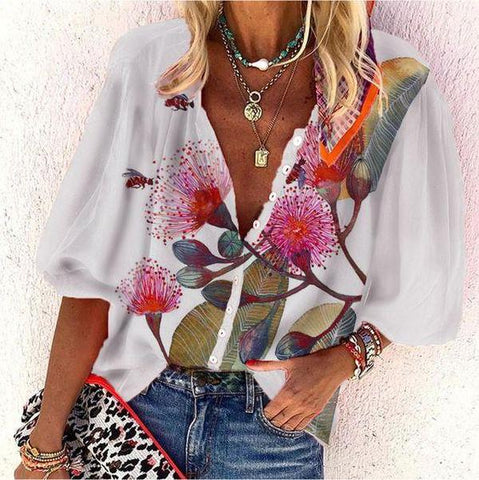 Button-Up Floral Print V-Neck Top-Multicolor-S-