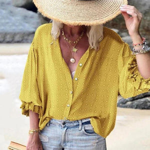 Button-Up Print 3/4 Sleeve Top-Yellow-S-