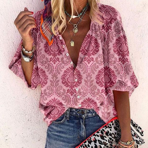 Buttoned 3/4 Sleeve Printed Top-Pink-S-