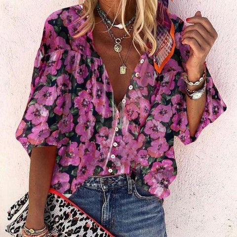 Buttoned Floral Print 3/4 Sleeve Top-Orchid-S-