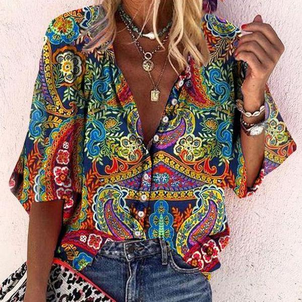 Buttoned Long Sleeve Print Blouse-Blue-S-