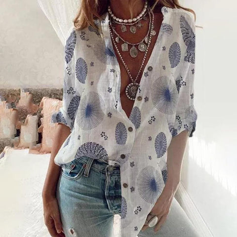 Buttoned Long Sleeve Print Shirt-White-S-