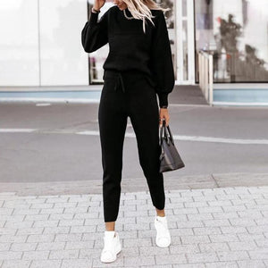 Casual Black Plain Long Sleeve Two Piece Set-Black-S-
