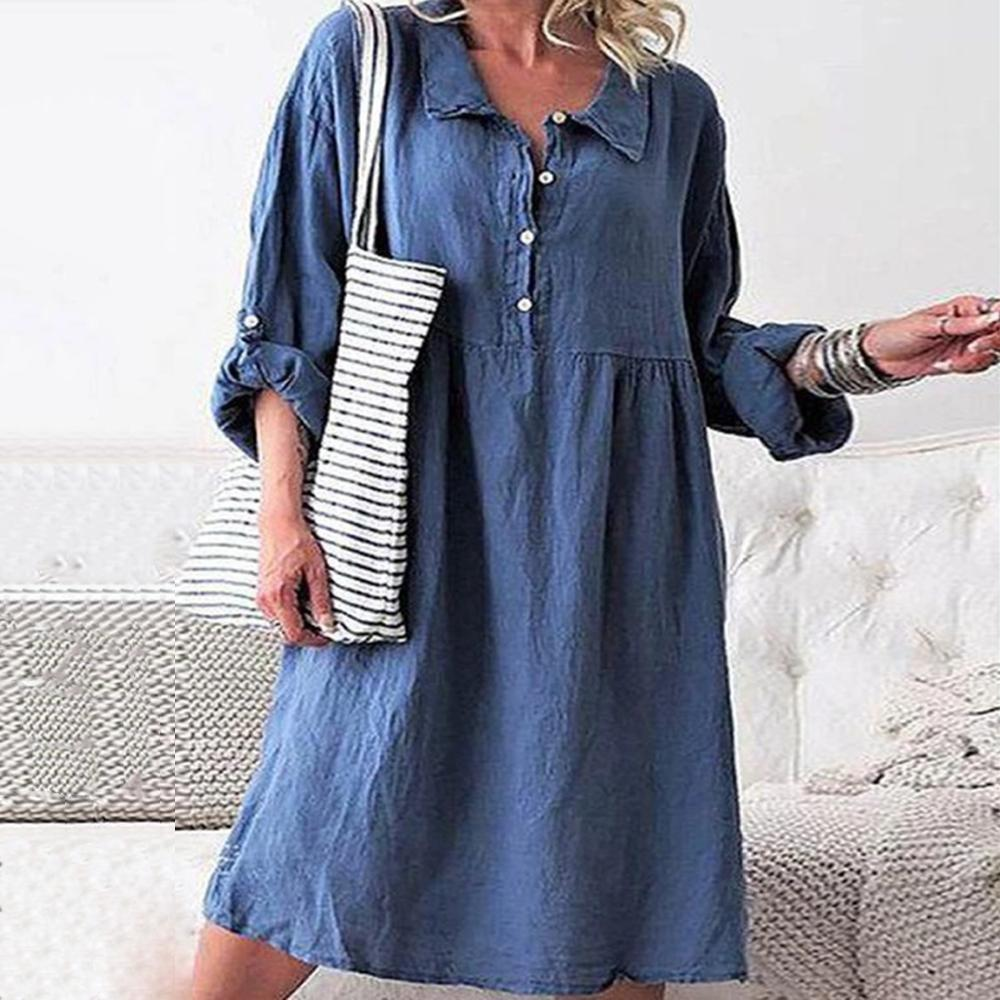 Casual Blue Lapel Long Sleeve Loose Midi Dress-Blue-S-