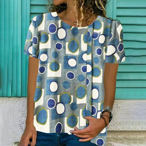 Casual Blue Printed T-Shirt-Blue-S-