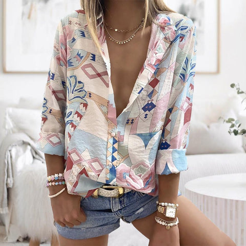 Casual Cozy V-Neck Long Sleeve Printed Shirt-Apricot-S-