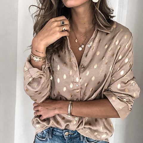 Casual Deep V-Neck Long Sleeve Polka Dot Blouse-KHAKI-S-