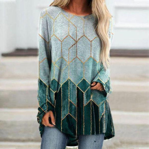 Casual Fashion Long Sleeve Printed Top-Green-S-